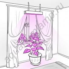 """Линейная светодиодная биколорная лампа с активным охлаждением для освещения растений """"Канопус"""""""